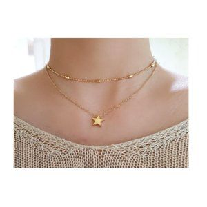 Layered Star Choker Necklace (Gold)
